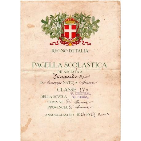 PAGELLA SCOLASTICA REGIME FASCISTA ANNO V 1927 GENOVA