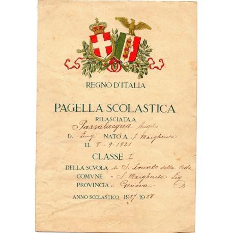 PAGELLA SCOLASTICA REGIME FASCISTA REGNO D'ITALIA, ANNO VI 1928 SANTA MARGHERITA LIGURE