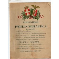 PAGELLA SCOLASTICA REGIME FASCISTA REGNO D'ITALIA, ANNO VII 1929 AVIGLIANO