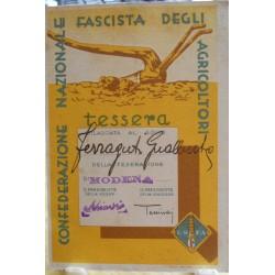 TESSERA DELLA CONFEDERAZIONE NAZIONALE FASCISTA DEGLI AGRICOLTORI, MODENA, 1933