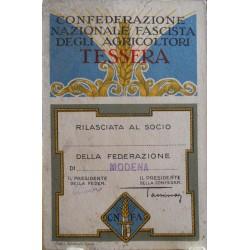 TESSERA DELLA CONFEDERAZIONE NAZIONALE FASCISTA DEGLI AGRICOLTORI, MODENA, 1932