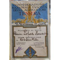 TESSERA DELLA CONFEDERAZIONE NAZIONALE FASCISTA DEGLI AGRICOLTORI, COSENZA, 1932