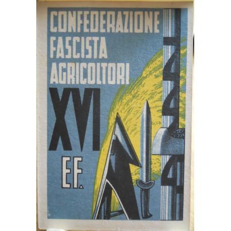 TESSERA DELLA CONFEDERAZIONE NAZIONALE FASCISTA DEGLI AGRICOLTORI, BOLOGNA, ANNO XVI