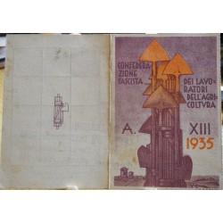 TESSERA DELLA CONFEDERAZIONE NAZIONALE FASCISTA DEGLI AGRICOLTORI, AOSTA, 1935