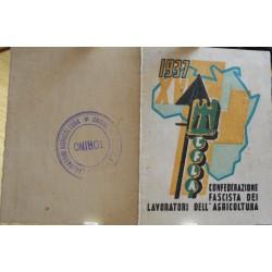 TESSERA DELLA CONFEDERAZIONE NAZIONALE FASCISTA DEGLI AGRICOLTORI, PATERNò, 1937